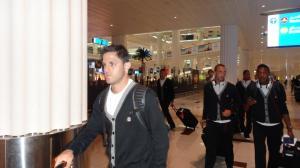 Equipe do Corinthians na chegada do Aeroporto de Dubai
